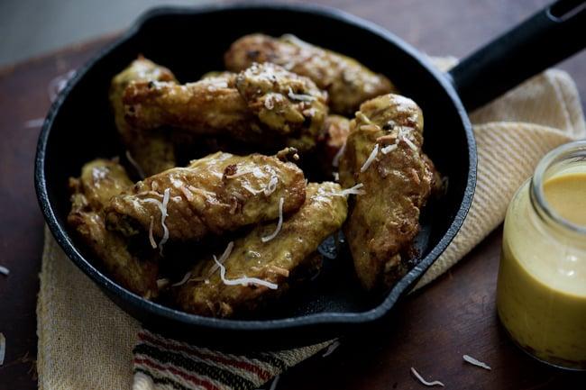 Crispy Curry Chicken Wings Recipe on WhiteOnRiceCouple.com @whiteonrice