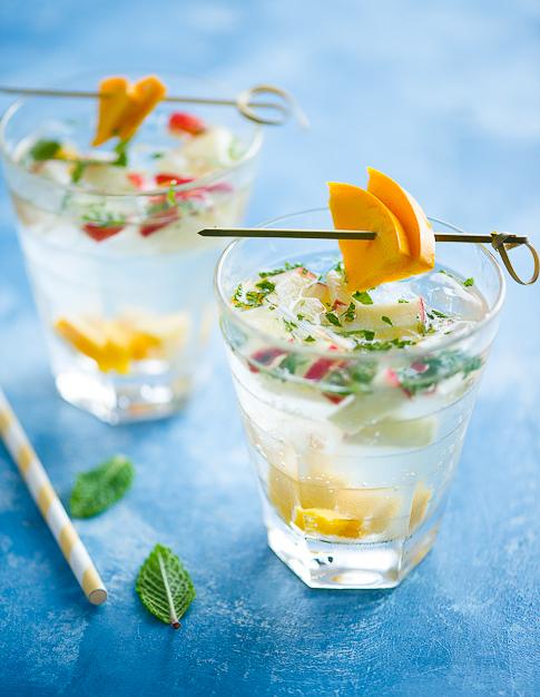 Tropical Sangria Recipe with Mint, Fresh Fruit & White Wine   @whiteonrice