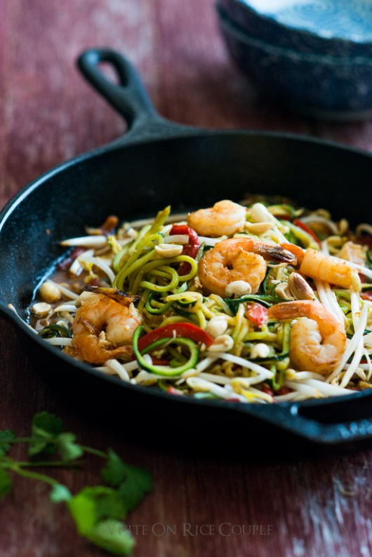 """Zucchini noodle """"Pad Thai"""" that's healthy and satisfying on @whiteonrice"""