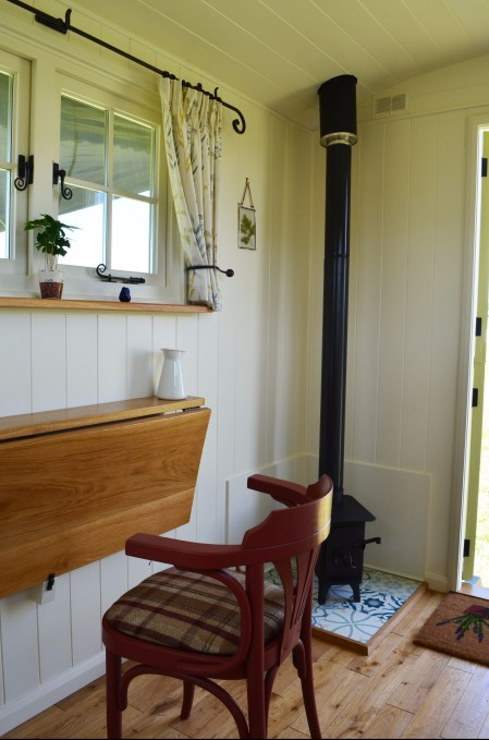 Wood burning stove in a shepherd hut
