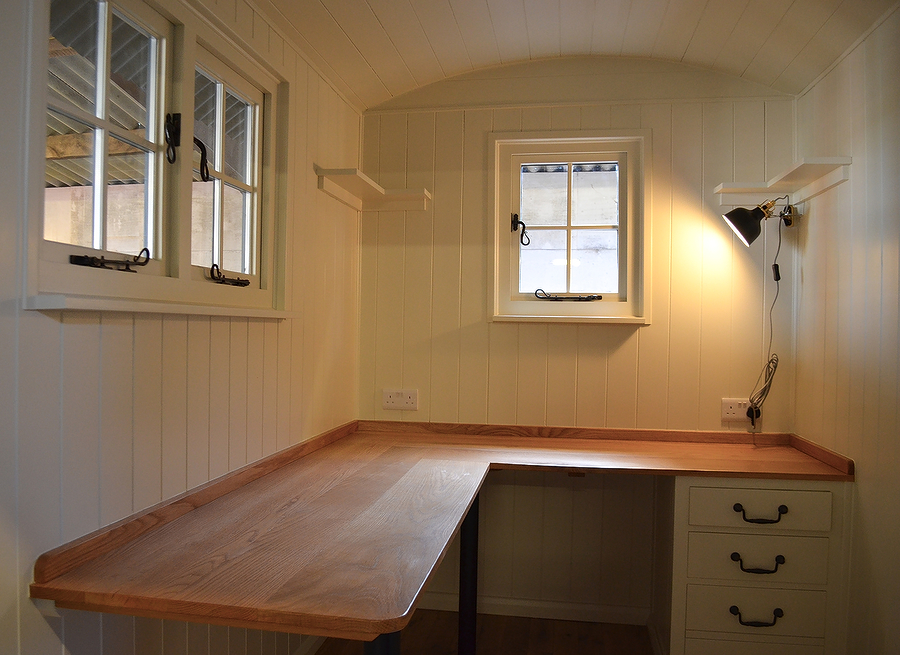 Inside a shepherd Hut office
