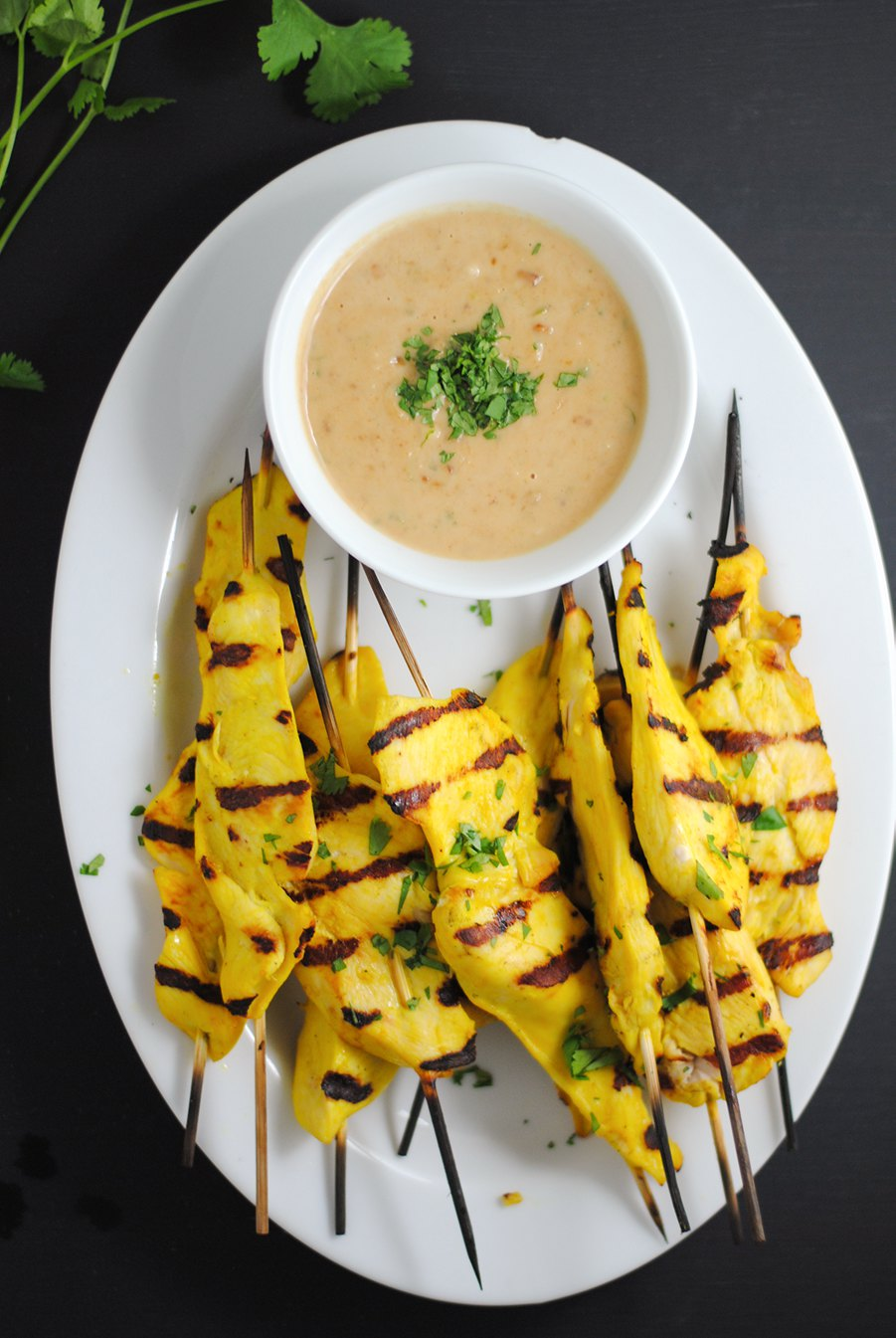 Chicken Satay With Peanut Dipping Sauce White Plate Blank Slate Thai