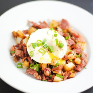 Corned beef hash with a poached egg