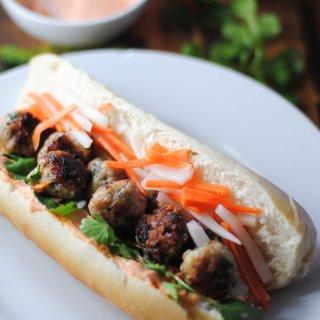 Vietnamese pork meatball banh mi