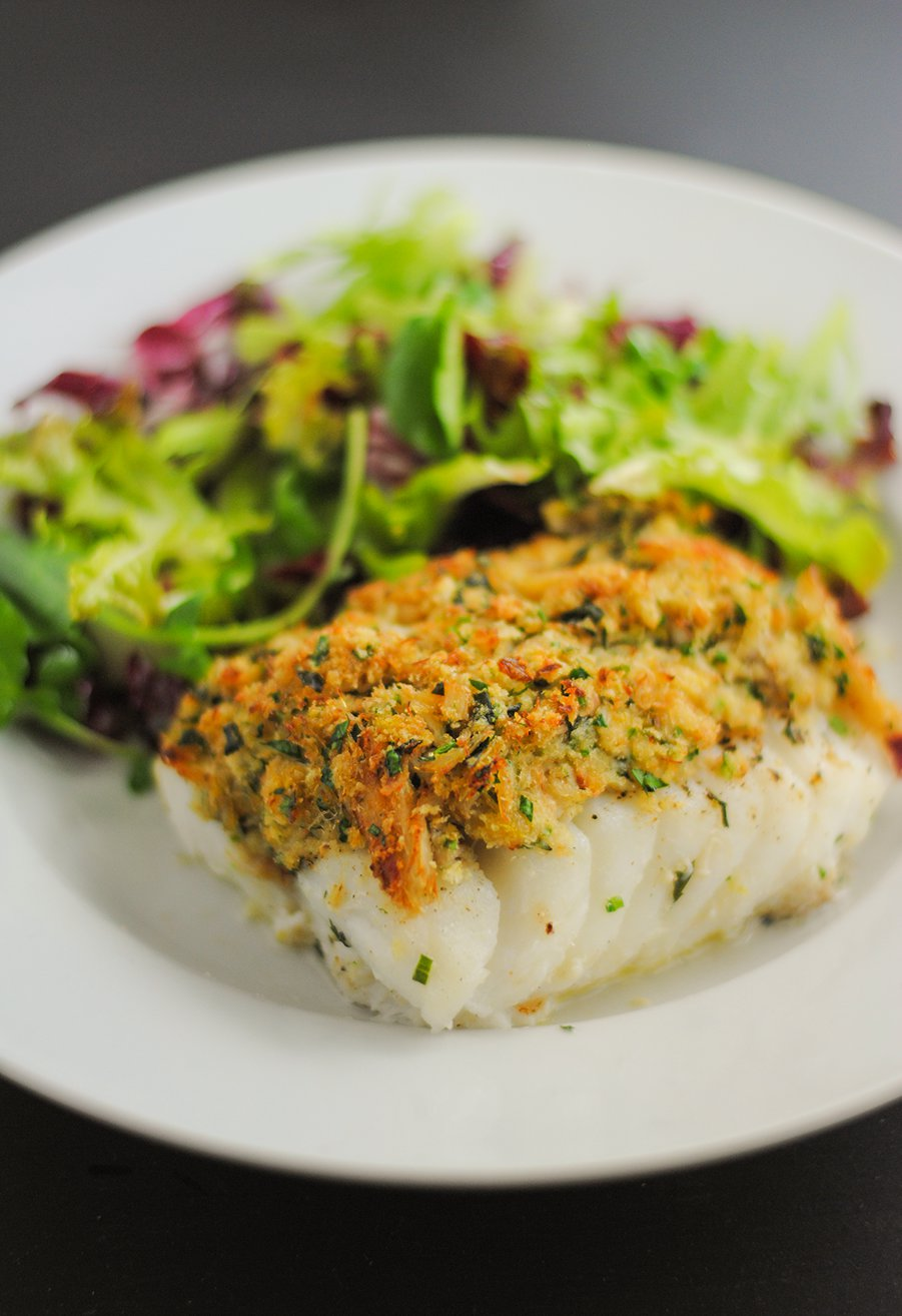 Baked cod with crab