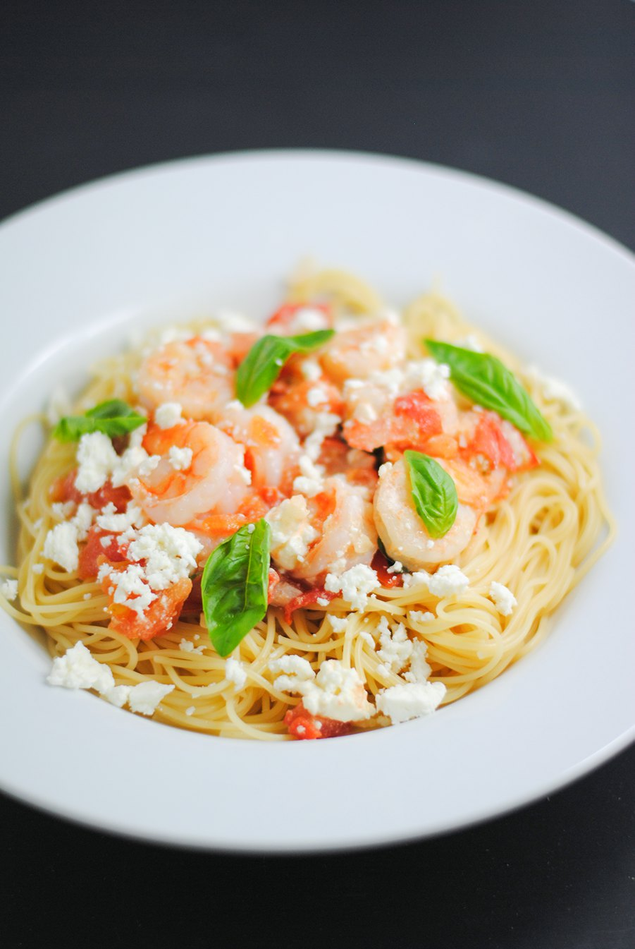 pasta with shrimp and feta