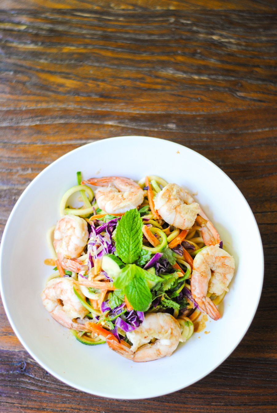 Zoodles with shrimp