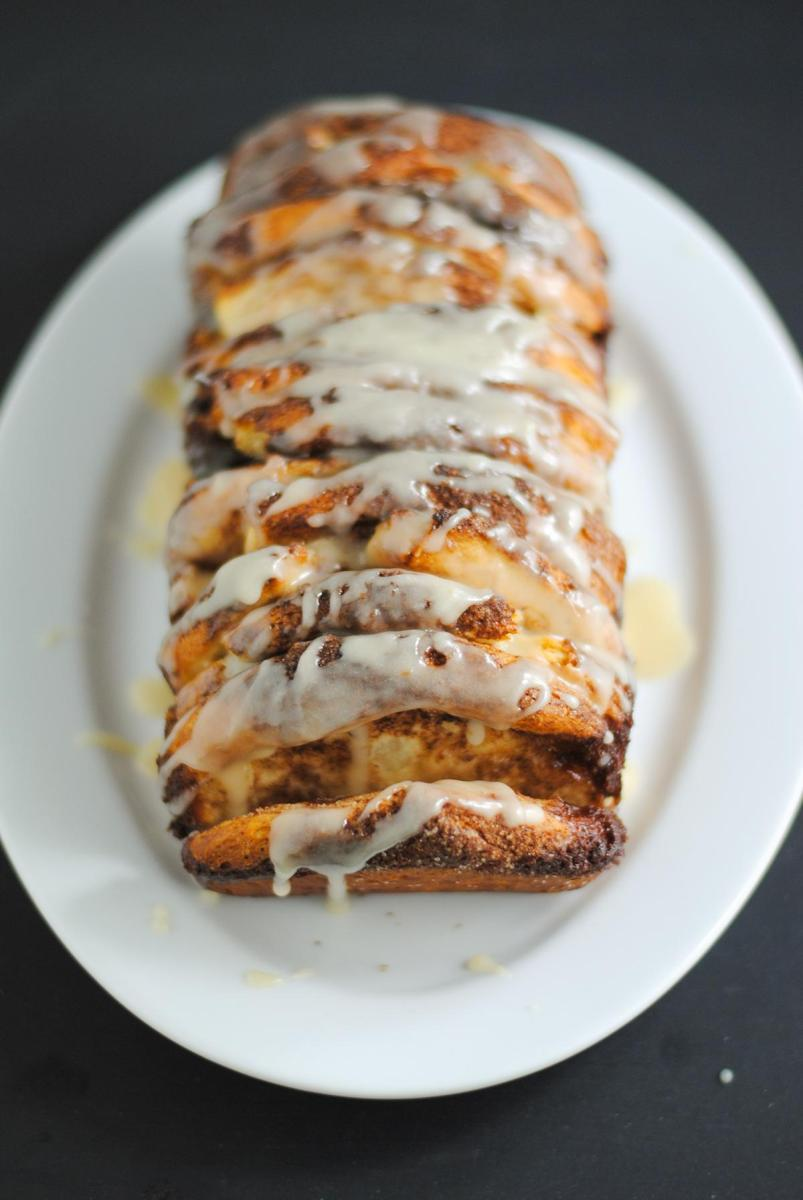 Glazed brown sugar cinnamon pull-apart bread