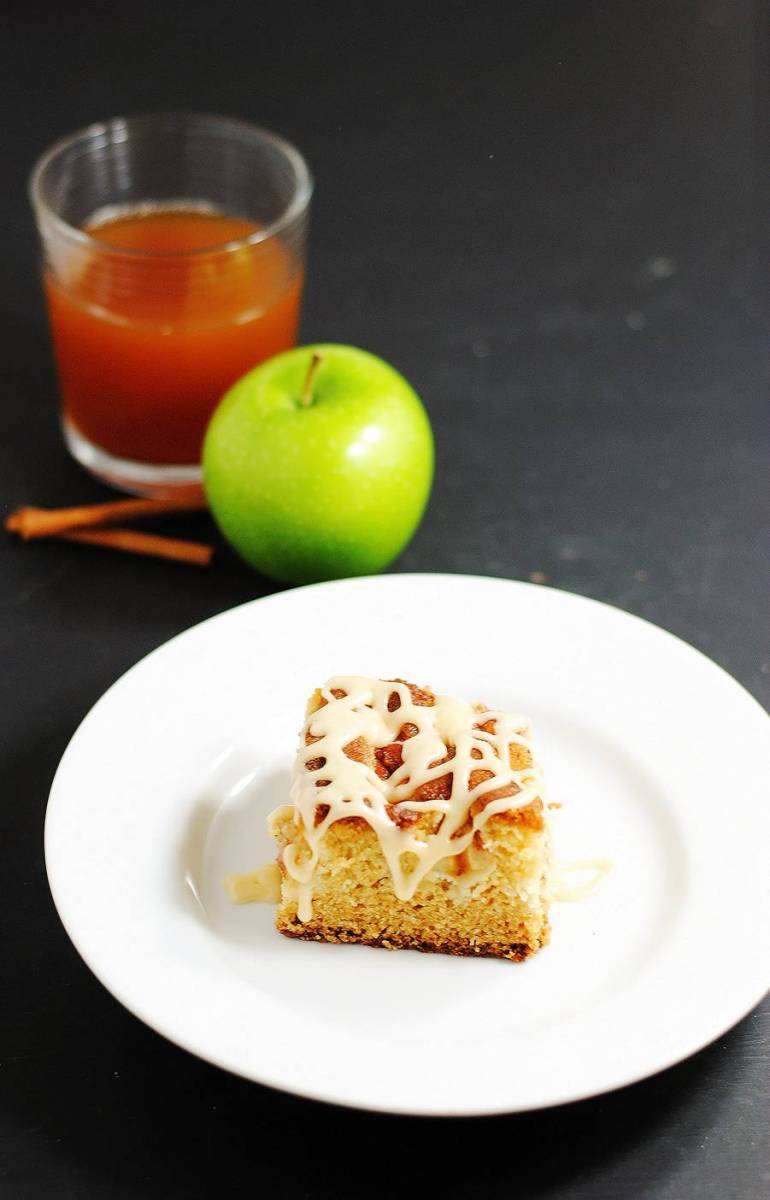Glazed apple cider cake