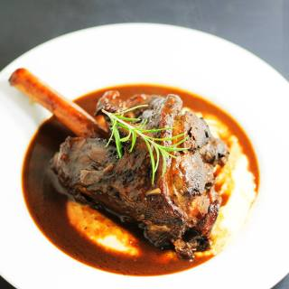 Braised lamb shanks with creamy polenta