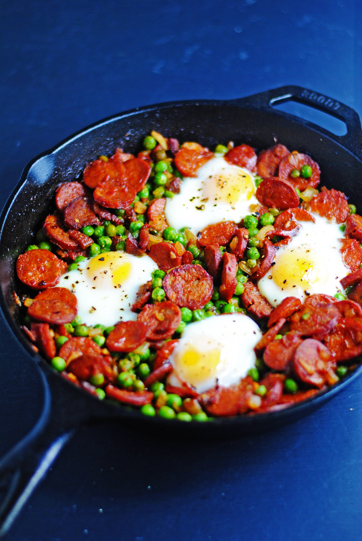 Portuguese baked eggs with chorizo
