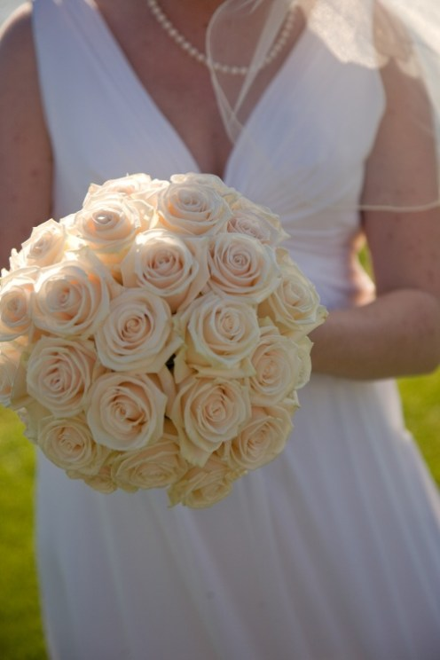 White rose bouquet of wedding flowers for bride
