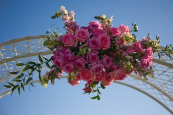Large flower decoration for arch used in wedding