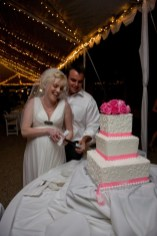 White 3 tier wedding cake with pink roses