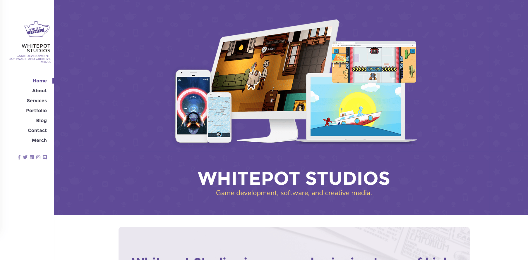 Whitepot Studios - Portfolio image showing our game development, software development, and creative media work for PC, Console, Web, and Mobile