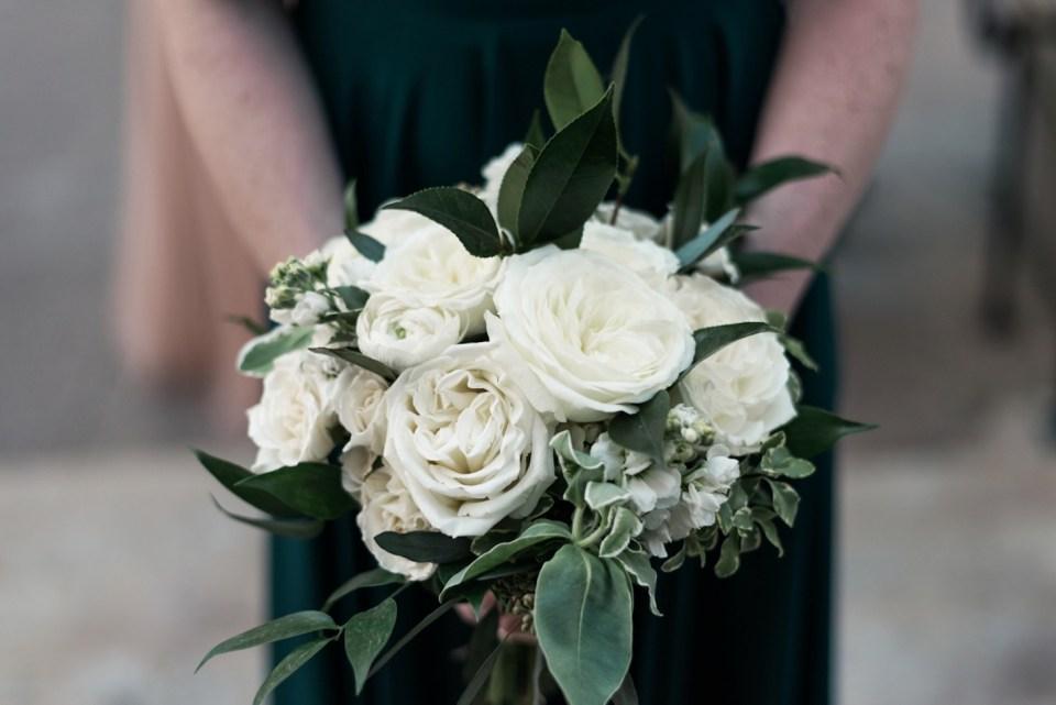 Closeup of wedding bouquet