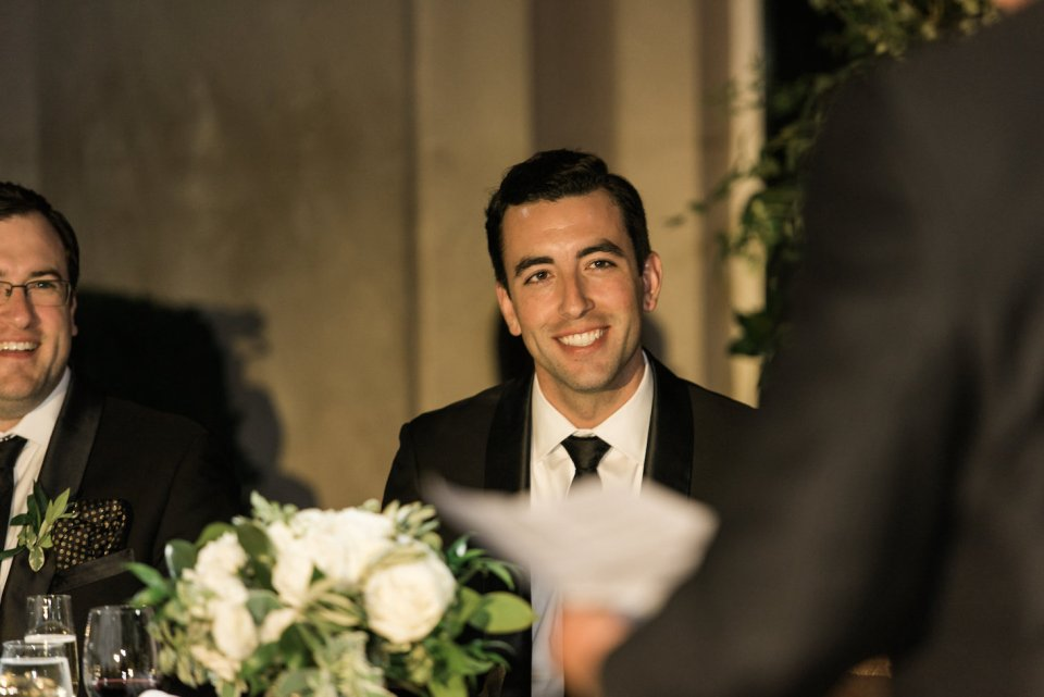 Groom smiles at his father