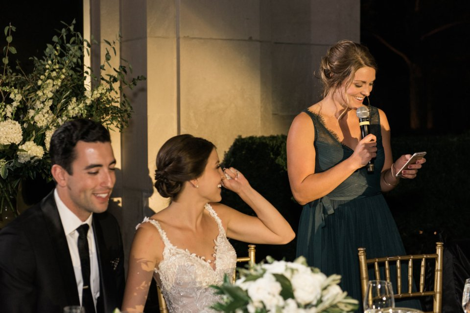 Sister of the bride gives a toast
