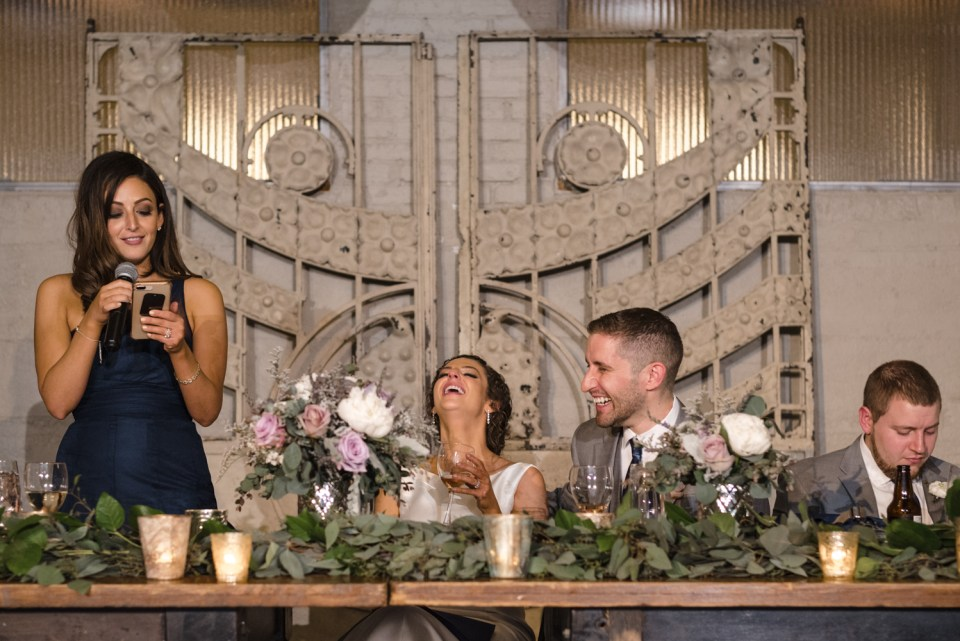 Maid of honor gives a toast at Artifact Events in Chicago IL