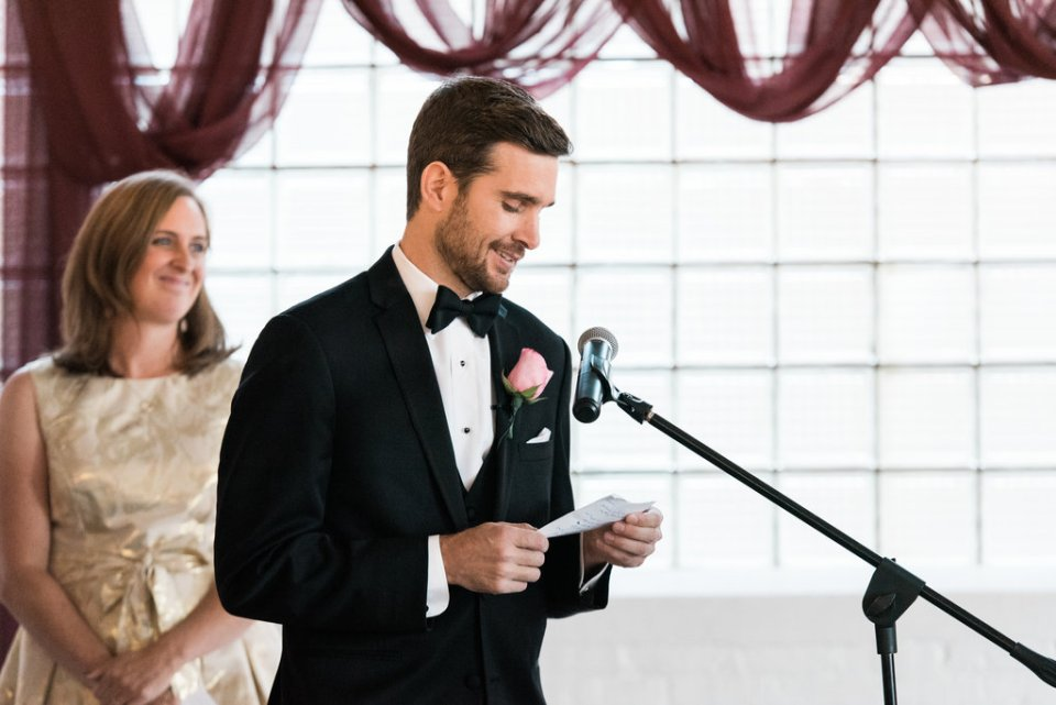 Groom says vows at Room 1520 in Chicago IL