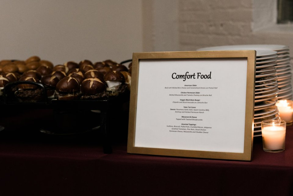 Comfort food themed wedding buffet at Room 1520 in Chicago IL