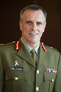 CDF, LTGEN Tim Keating wearing his White Ribbon pin.