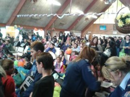 Crowd inside the whare