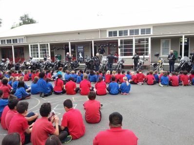White Ribbon riders visit Riccarton primary primary school