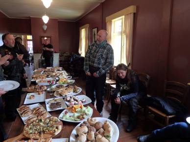 Lunch break at Broadway Tea rooms in Reefton where White Ribbon Riders were treated to a magnificent feast. Thank you to the ladies there for preparing all this delicious food.