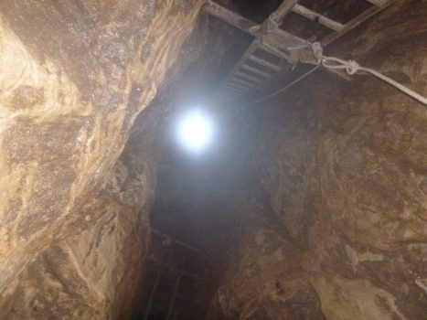 Daylight at top of shaft (Photo - Andy Cole).