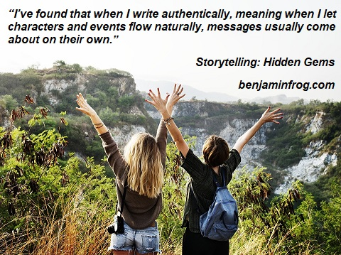 Women hikers on the top of a mountain, with hands raised joyfully - The Message In Your Story - part 1 by Benjamin T. Collier for White Rose Writers.