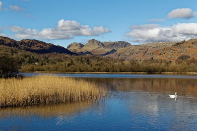 Langdales with Elter Water in the foreground