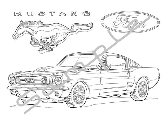 1969 ford mustang adult coloring page printable coloring page coloring page for adults digital instant download 1 page
