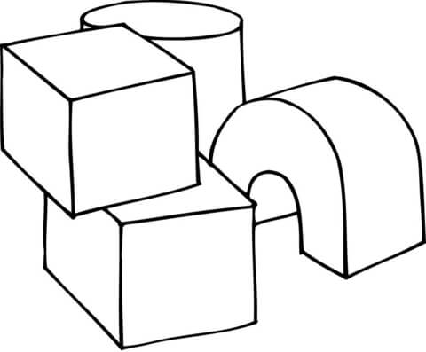 3d shapes as play cubes coloring page free printable