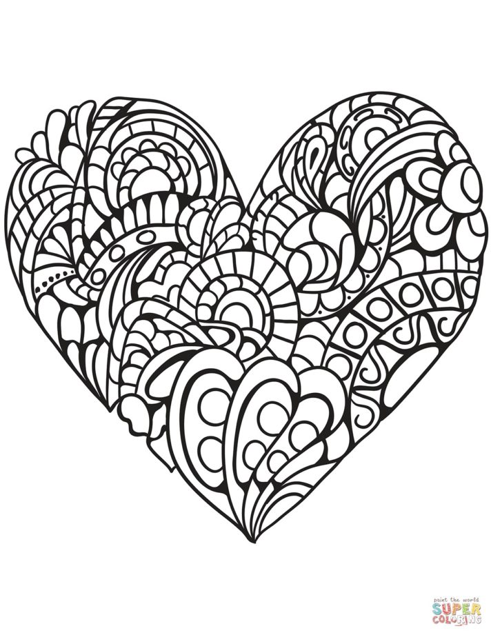 53 most hunky dory printable heart coloring pages zentangle