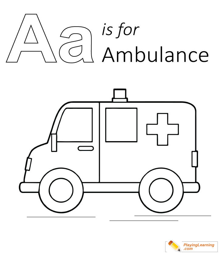 a is for ambulance coloring page 01 free a is for
