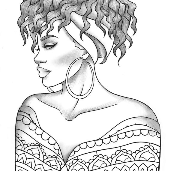 adult coloring page black girl portrait and clothes colouring sheet fashion pdf printable anti stress relaxing zentangle line art