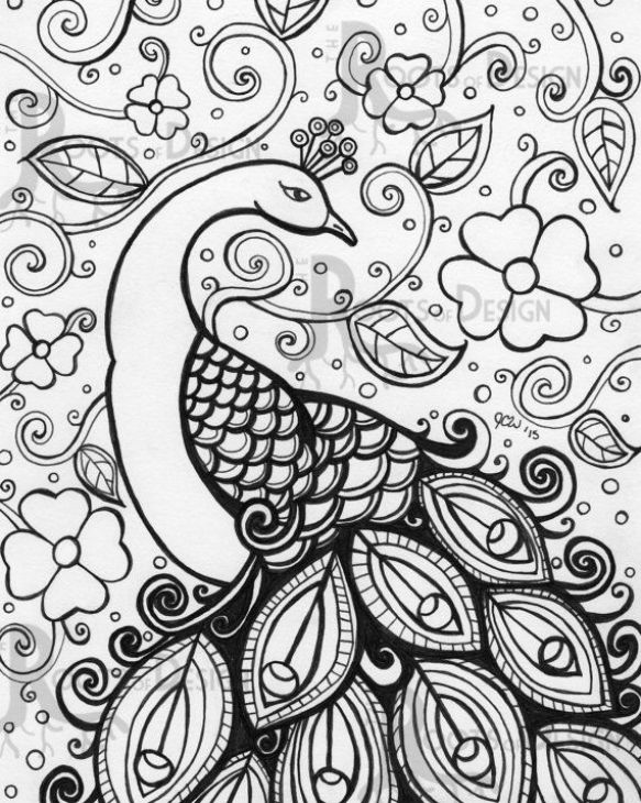 adult coloring pages peacock animal patterns pattern