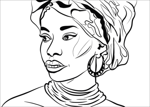 african woman coloring page free printable coloring pages