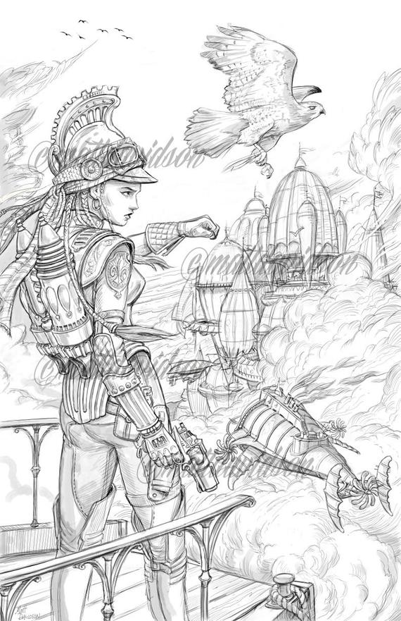 airship pirate coloring pages adult coloring steampunk coloring page fantasy coloring printable download