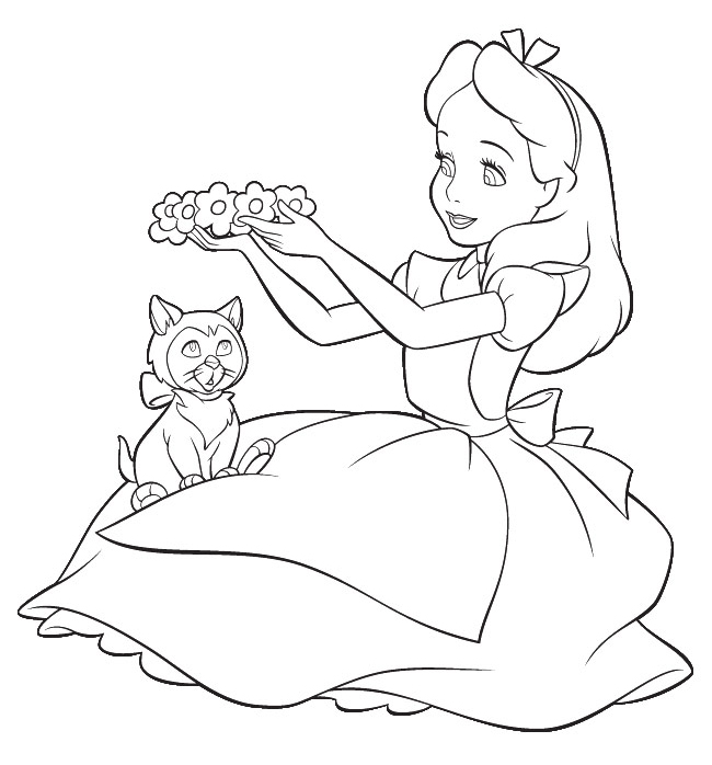 alice in the wonderland coloring pages