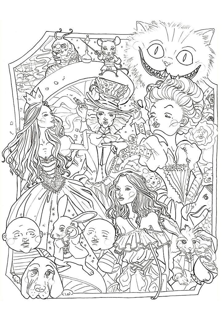 alice in wonderland coloring page disney coloring pages