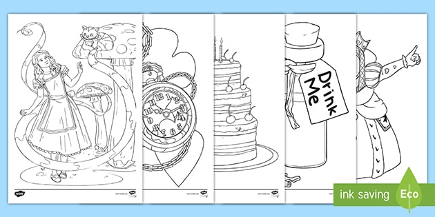 alice in wonderland colouring pages teacher made