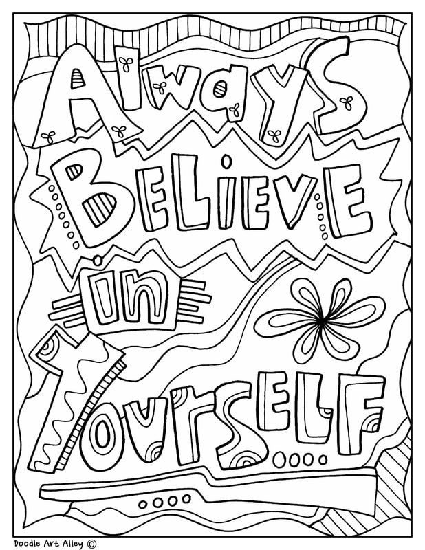 always believe in yourself inspirational coloring page
