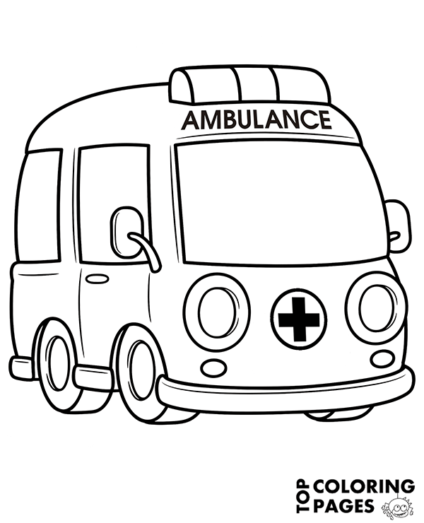 ambulance coloring page to download or print for free