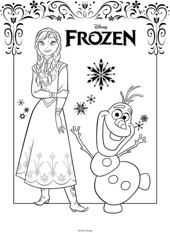 anna and olaf coloring page free printable coloring pages