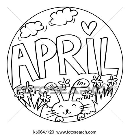 april coloring pages for kids clipart k59647720 fotosearch