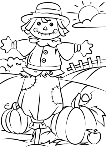 autumn scene with scarecrow coloring page free printable