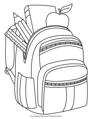 backpack with school supplies coloring page free printable