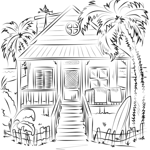 beach house coloring page free printable coloring pages